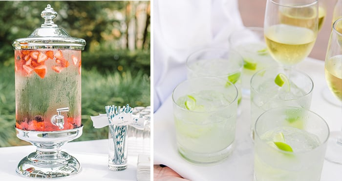 Summer Wedding Tips from PPHG Events | Hydration Station | Left Aaron + Jillian; Right Dana Cubbage