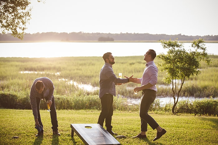 Lawn games at The River House in Charleston, South Carolina | Welcome reception & wedding rehearsal dinner ideas from PPHG Events | Photo by Amelia and Dan