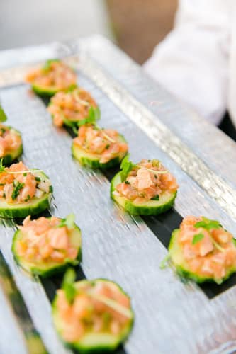 Passed hors d'oeuvres from the PPHG culinary team | Fresh, cocktail hour inspiration for spring weddings | Lowndes Grove Plantation in Charleston, South Carolina | Photo by Dana Cubbage Weddings