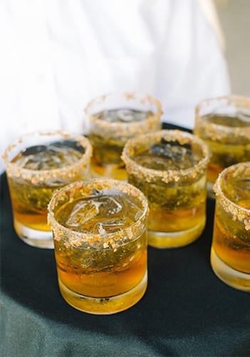 Maple-Bourbon Manhattans from the PPHG culinary team for your holiday or end-of-year event | Lowndes Grove Plantation in Charleston, South Carolina | Photo by Aaron and Jillian