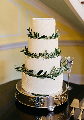 Four tier wedding cake by PPHG pastry chef Jessica Grossman at Lowndes Grove Plantation in Charleston, South Carolina | Photo by Caroline Ro