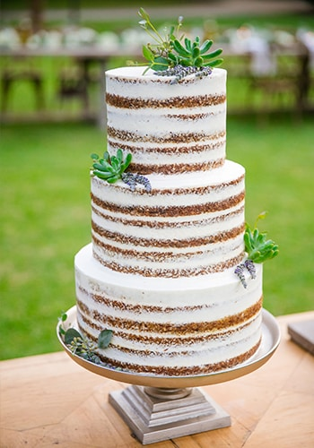 3 tier fresh-faced wedding cake by PPHG pastry chef Jessica Grossman at Lowndes Grove Plantation in Charleston, South Carolina | Photo by Dana Cubbage Weddings