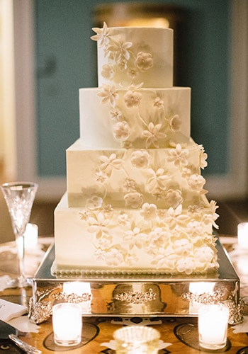 Four tier custom wedding cake by PPHG pastry chef Jessica Grossman at The William Aiken House